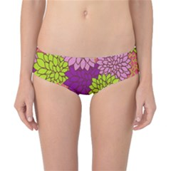 Floral Card Template Bright Colorful Dahlia Flowers Pattern Background Classic Bikini Bottoms