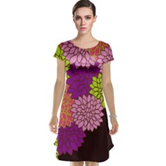 Floral Card Template Bright Colorful Dahlia Flowers Pattern Background Cap Sleeve Nightdress