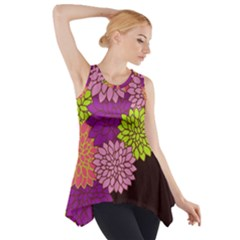 Floral Card Template Bright Colorful Dahlia Flowers Pattern Background Side Drop Tank Tunic