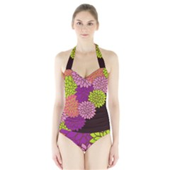 Floral Card Template Bright Colorful Dahlia Flowers Pattern Background Halter Swimsuit