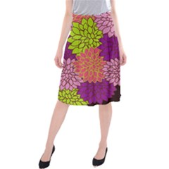 Floral Card Template Bright Colorful Dahlia Flowers Pattern Background Midi Beach Skirt