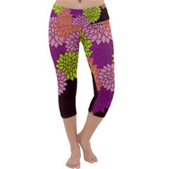 Floral Card Template Bright Colorful Dahlia Flowers Pattern Background Capri Yoga Leggings