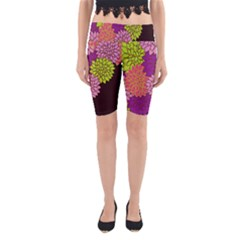 Floral Card Template Bright Colorful Dahlia Flowers Pattern Background Yoga Cropped Leggings