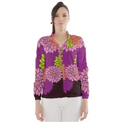 Floral Card Template Bright Colorful Dahlia Flowers Pattern Background Wind Breaker (women)