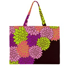 Floral Card Template Bright Colorful Dahlia Flowers Pattern Background Large Tote Bag