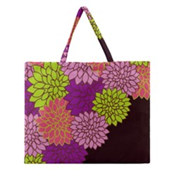 Floral Card Template Bright Colorful Dahlia Flowers Pattern Background Zipper Large Tote Bag