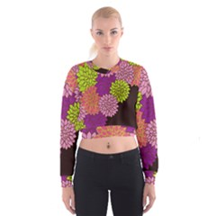 Floral Card Template Bright Colorful Dahlia Flowers Pattern Background Women s Cropped Sweatshirt