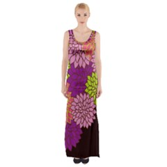 Floral Card Template Bright Colorful Dahlia Flowers Pattern Background Maxi Thigh Split Dress