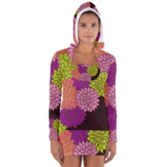 Floral Card Template Bright Colorful Dahlia Flowers Pattern Background Women s Long Sleeve Hooded T-shirt