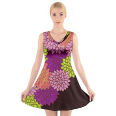 Floral Card Template Bright Colorful Dahlia Flowers Pattern Background V Neck Sleeveless Skater Dress