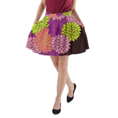 Floral Card Template Bright Colorful Dahlia Flowers Pattern Background A-Line Pocket Skirt