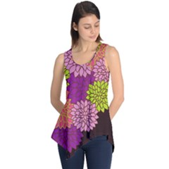 Floral Card Template Bright Colorful Dahlia Flowers Pattern Background Sleeveless Tunic