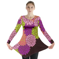 Floral Card Template Bright Colorful Dahlia Flowers Pattern Background Long Sleeve Tunic