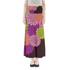 Floral Card Template Bright Colorful Dahlia Flowers Pattern Background Maxi Skirts