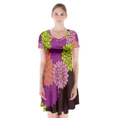 Floral Card Template Bright Colorful Dahlia Flowers Pattern Background Short Sleeve V-neck Flare Dress