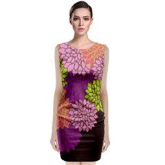 Floral Card Template Bright Colorful Dahlia Flowers Pattern Background Classic Sleeveless Midi Dress