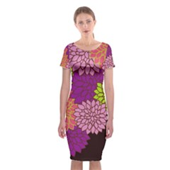 Floral Card Template Bright Colorful Dahlia Flowers Pattern Background Classic Short Sleeve Midi Dress