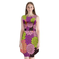 Floral Card Template Bright Colorful Dahlia Flowers Pattern Background Sleeveless Chiffon Dress