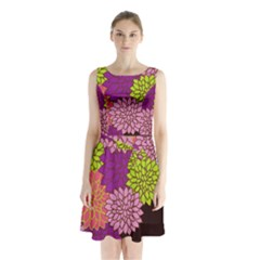 Floral Card Template Bright Colorful Dahlia Flowers Pattern Background Sleeveless Chiffon Waist Tie Dress