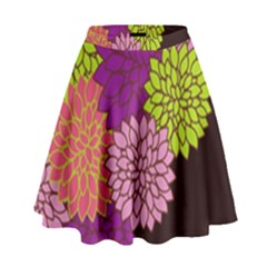 Floral Card Template Bright Colorful Dahlia Flowers Pattern Background High Waist Skirt