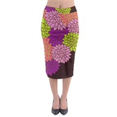 Floral Card Template Bright Colorful Dahlia Flowers Pattern Background Midi Pencil Skirt