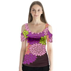 Floral Card Template Bright Colorful Dahlia Flowers Pattern Background Butterfly Sleeve Cutout Tee
