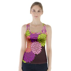 Floral Card Template Bright Colorful Dahlia Flowers Pattern Background Racer Back Sports Top