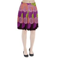 Floral Card Template Bright Colorful Dahlia Flowers Pattern Background Pleated Skirt