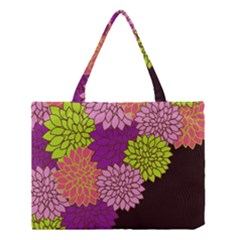 Floral Card Template Bright Colorful Dahlia Flowers Pattern Background Medium Tote Bag