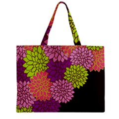 Floral Card Template Bright Colorful Dahlia Flowers Pattern Background Medium Zipper Tote Bag