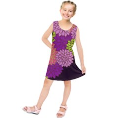 Floral Card Template Bright Colorful Dahlia Flowers Pattern Background Kids  Tunic Dress