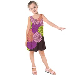 Floral Card Template Bright Colorful Dahlia Flowers Pattern Background Kids  Sleeveless Dress