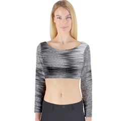 Rectangle Abstract Background Black And White In Rectangle Shape Long Sleeve Crop Top