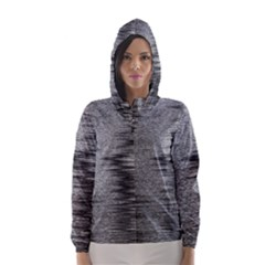 Rectangle Abstract Background Black And White In Rectangle Shape Hooded Wind Breaker (Women)