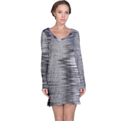 Rectangle Abstract Background Black And White In Rectangle Shape Long Sleeve Nightdress