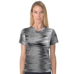 Rectangle Abstract Background Black And White In Rectangle Shape Women s V-Neck Sport Mesh Tee