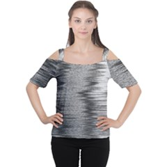 Rectangle Abstract Background Black And White In Rectangle Shape Women s Cutout Shoulder Tee