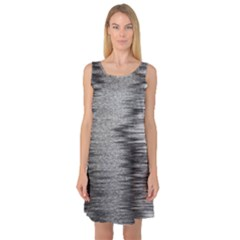 Rectangle Abstract Background Black And White In Rectangle Shape Sleeveless Satin Nightdress