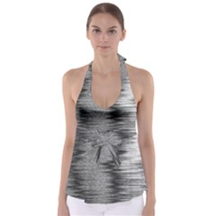 Rectangle Abstract Background Black And White In Rectangle Shape Babydoll Tankini Top