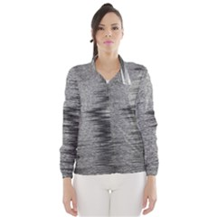Rectangle Abstract Background Black And White In Rectangle Shape Wind Breaker (Women)