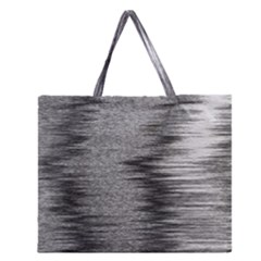 Rectangle Abstract Background Black And White In Rectangle Shape Zipper Large Tote Bag