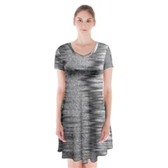 Rectangle Abstract Background Black And White In Rectangle Shape Short Sleeve V Neck Flare Dress