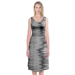 Rectangle Abstract Background Black And White In Rectangle Shape Midi Sleeveless Dress