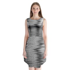 Rectangle Abstract Background Black And White In Rectangle Shape Sleeveless Chiffon Dress