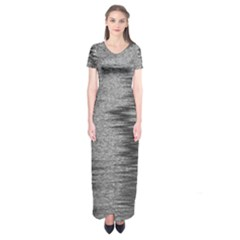 Rectangle Abstract Background Black And White In Rectangle Shape Short Sleeve Maxi Dress
