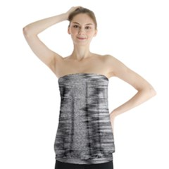 Rectangle Abstract Background Black And White In Rectangle Shape Strapless Top