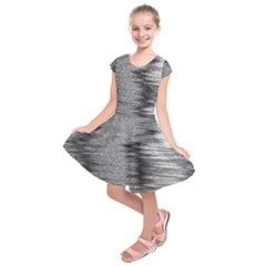 Rectangle Abstract Background Black And White In Rectangle Shape Kids  Short Sleeve Dress