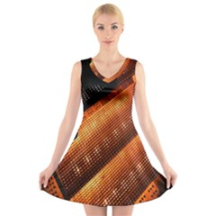 Magic Steps Stair With Light In The Dark V Neck Sleeveless Skater Dress