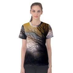 Tree Art Artistic Abstract Background Women s Cotton Tee