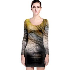 Tree Art Artistic Abstract Background Long Sleeve Bodycon Dress